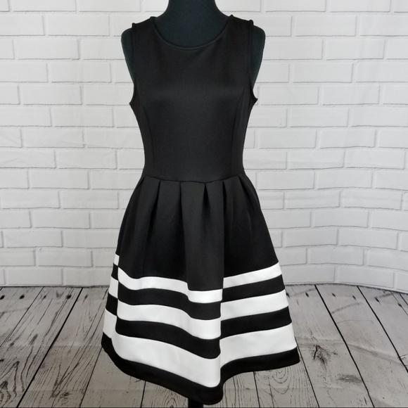 Apt9 black and white pleated skater dress